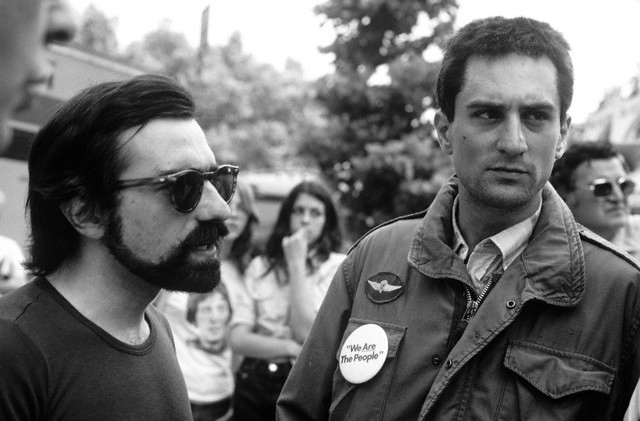 1976 --- Martin Scorsese and Robert DeNiro on the set of . --- Image by © Steve Schapiro/Corbis